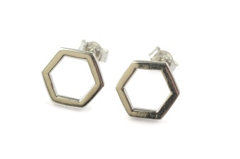 STRICT SIMPLE HEXAGON EARRING SILVER