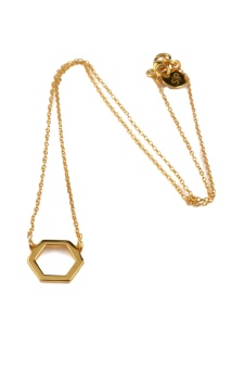 STRICT SIMPLE HEXAGON NECKLACE, GOLD