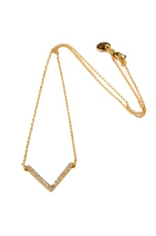 STRICT SPARKLING V NECKLACE, GOLD