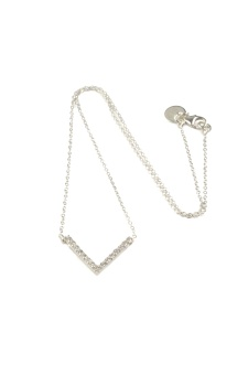 STRICT SPARKLING V NECKLACE, SILVER