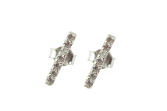 STRICT SPARKLING BAR EARRING SILVER