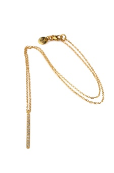 STRICT SPARKLING BAR NECKLACE, GOLD