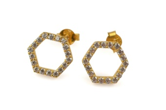 STRICT SPARKLING HEXAGON EARRING GOLD