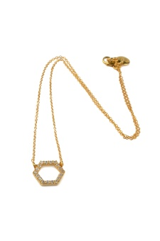 STRICT SPARKLING HEXAGON NECKLACE GOLD