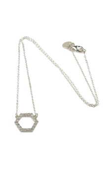 STRICT SPARKLING HEXAGON NECKLACE SILVER
