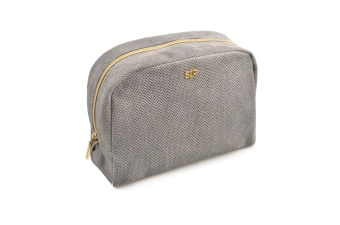 SUEDE BIG TOILETRY BAG, GREY