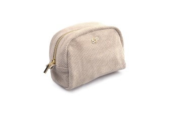 SUEDE MIDI TOILETRY BAG BEIGE