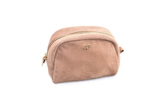 SUEDE MIDI TOILETRY BAG DUSTY PINK