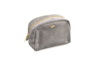 SUEDE MIDI TOILETRY BAG GREY