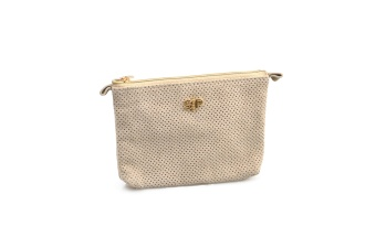 SUEDE MINI TOILETRY BAG BEIGE