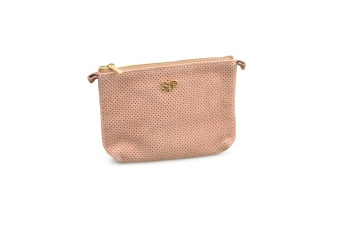 SUEDE MINI TOILETRY BAG DUSTY PINK