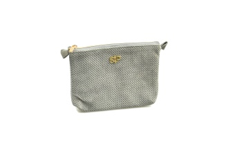 SUEDE MINI TOILETRY BAG GREY