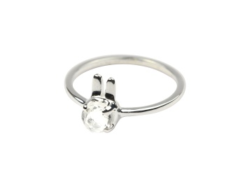 TINY RABBIT RING SILVER