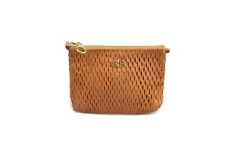 HONEYCOMB SMALL TOILETRY BAG COGNAC