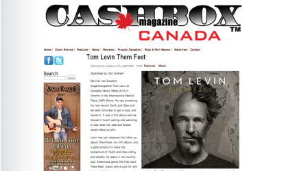 Review of Tom Levin's Them Feet in Cashbox Magazine