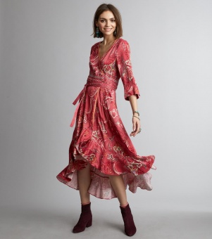 Odd molly delicate long dress rasberry