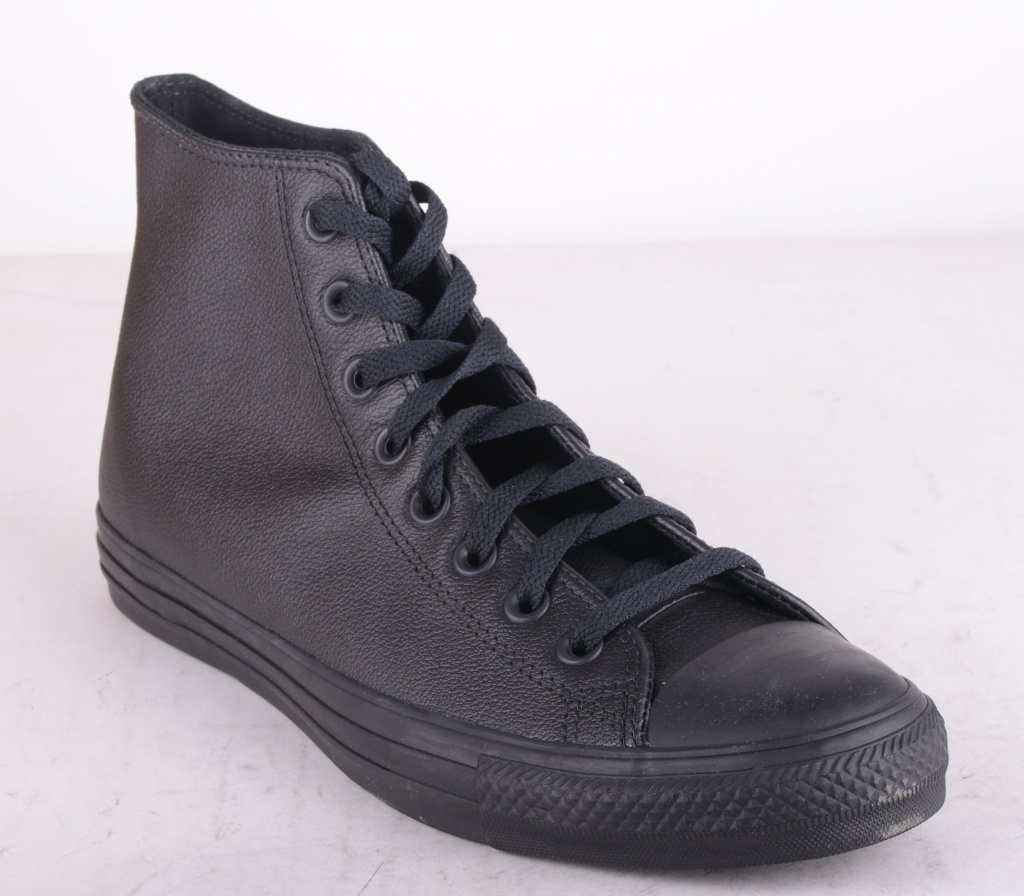 All Star HI Leather Black Mono