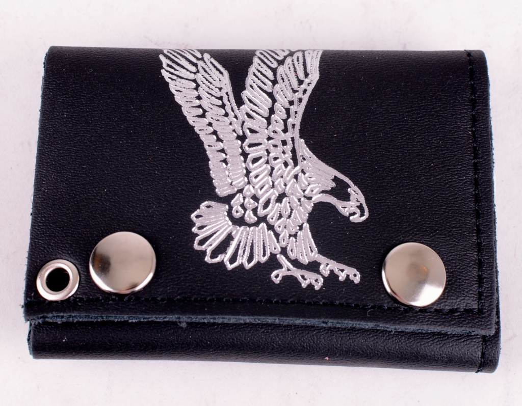 Black Leather Eagle Wallet