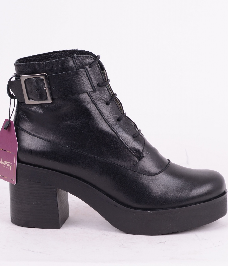 Lace Heel Boot Black 063