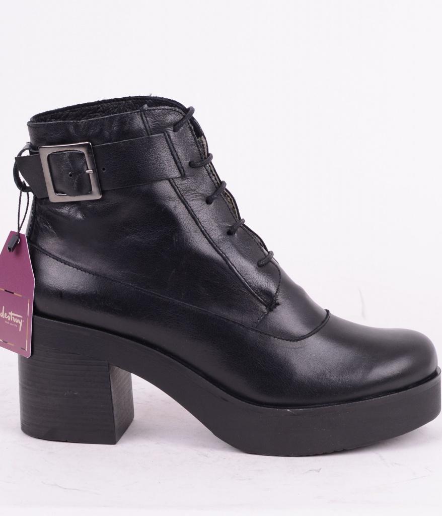 Lace Heel Boot Black 063