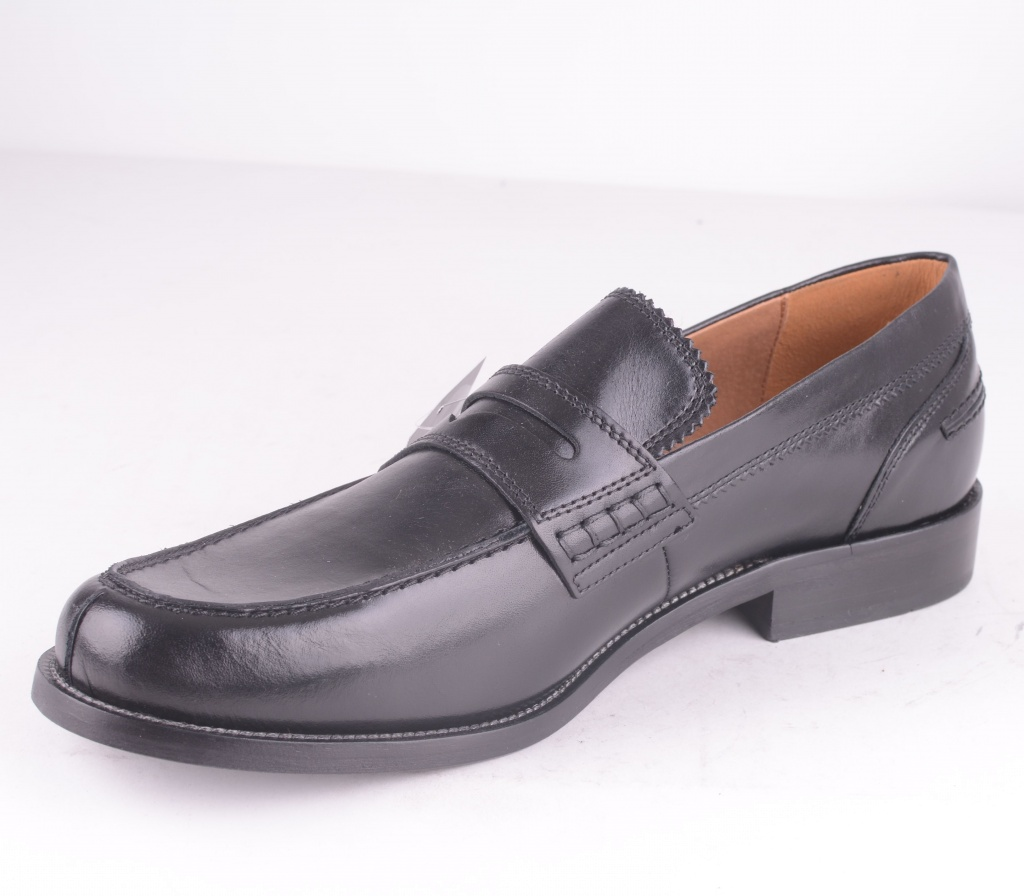 Black Leather Slip Shoe