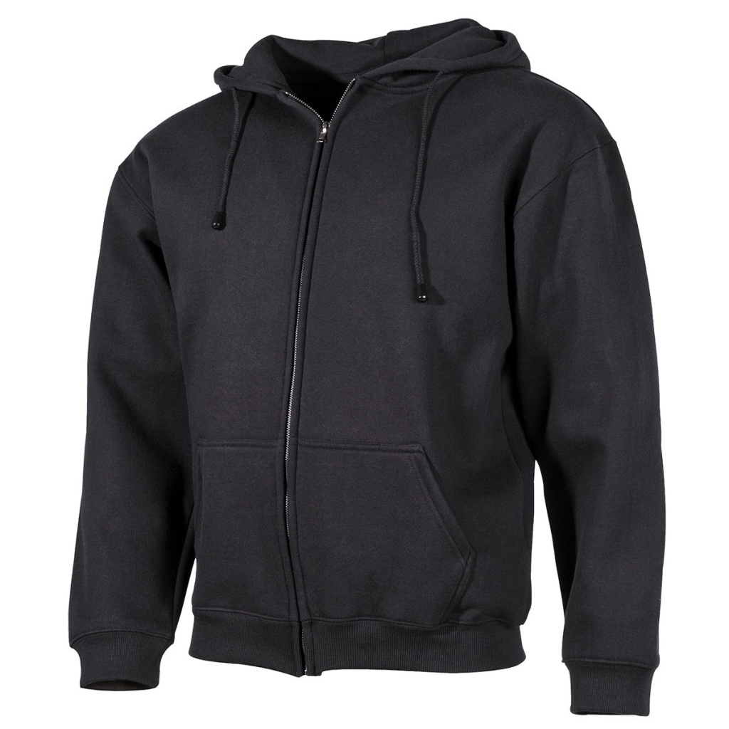 Hooded Sweater Zip Black