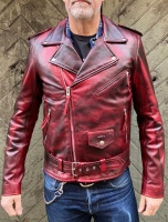 Biker Dirty Red Leather