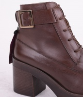 Lace Heel Boot Brown 063