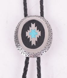 Aztec Bolo Tie with Turquise Inlay