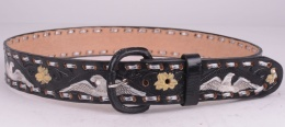 Black Flower Eagle Belt (removable Buckle)