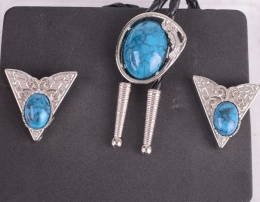 Bolo Ties / Collar Tips Set Blue Stone