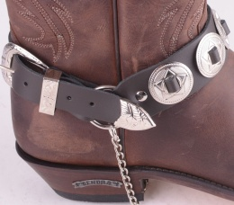 Boot Straps Brown Conchos