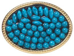 BU-1051 Belt Buckle - Blue Stones