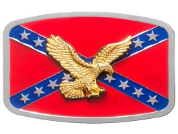 Belt Buckle - Golden Eagle on Rebel Flag