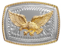 Belt Buckle - Golden Eagle on Silver