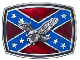 Belt Buckle - Silver Eagle on Rebel Flag