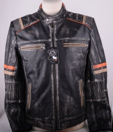 Black Orange Leather Jacket