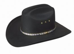 CA-BLK-E Black Cattleman Straw/*elastic