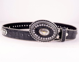 Chrystal Leather Belt Black