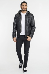 Davis Leather Jacket with Hood