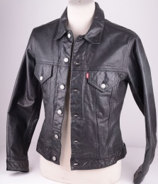 Levi's, Black Leather Trucker, Size M