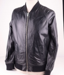 King 4 Black Leather Bomber