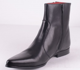 Zips Black Zip Leather Boot