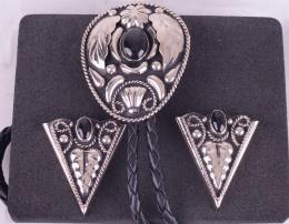 Bolo Tie / Collar Tips Set Black