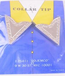 Engraved Collar Tips Silver