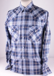 Mens Blue Checked Western Shirt