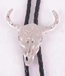Silver Skull Bolo Tie