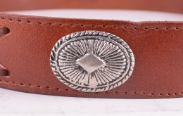 Brown Concho Leather Belt (Removable Buckle=