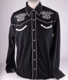 Mens Black Western Shirt 320