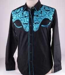 Womens Black Turquise Western Shirt